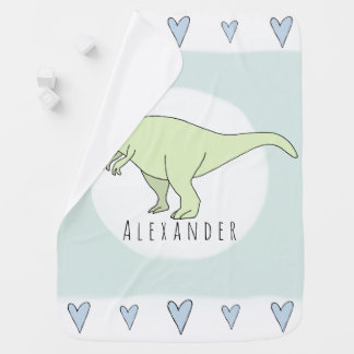 Baby Boy Doodle T-Rex Dinosaur with Name Baby Blanket