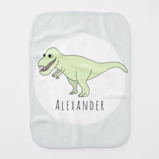 Baby Boy Doodle T-Rex Dinosaur with Name Burp Cloth