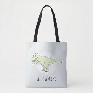 Baby Boy Doodle T-Rex Dinosaur with Name Diaper Tote Bag
