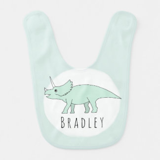 Baby Boy Doodle Triceratops Dinosaur with Name Bib