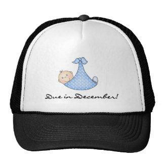 Baby Boy Due in December Mesh Hats