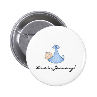 Baby Boy Due in January 6 Cm Round Badge