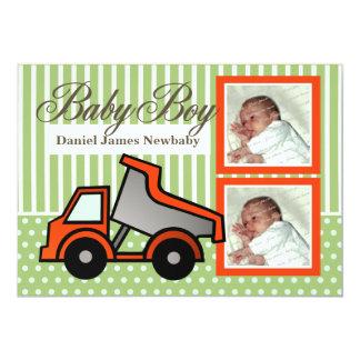 Baby Boy Dump Truck Photo 13 Cm X 18 Cm Invitation Card