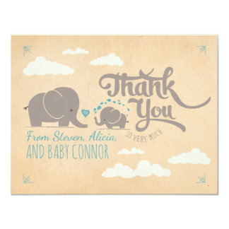 Baby Boy Elephant Baby Shower Thank You Cards