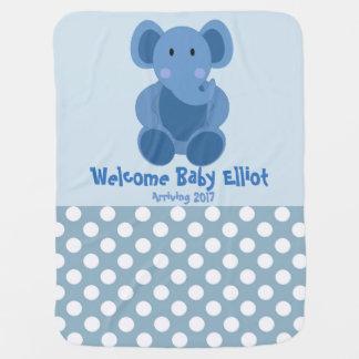 Baby Boy Elephant Blanket Receiving Blankets