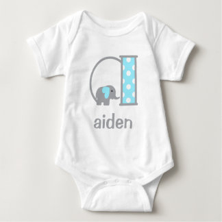 Baby Boy Elephant Blue Dot Bodysuit Monogram a