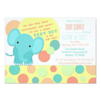 boy elephant baby shower invitations announcements