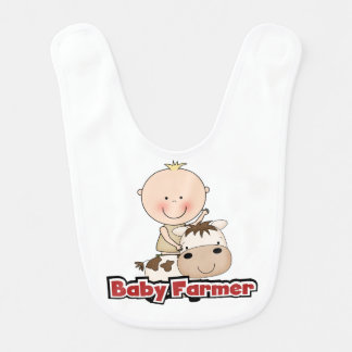 Baby Boy Farmer With Cow Baby Bibs