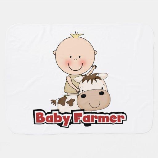 Baby Boy Farmer With Cow Stroller Blanket