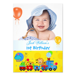 Baby Boy First Birthday 1st Train Blue Yellow Card