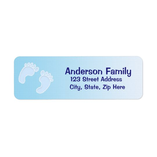 Baby Boy Footprint Blue Address Label