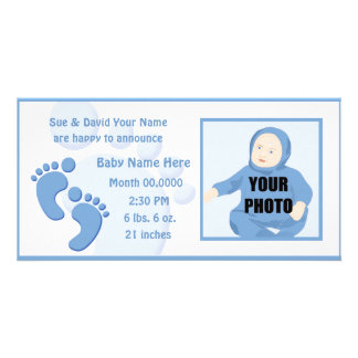 Baby Boy Footprint Feet Birth Photo Announcement Card