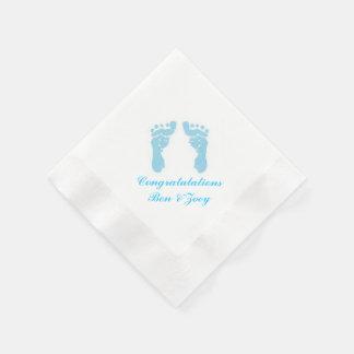 """Baby Boy Footprints"" Paper Napkins"