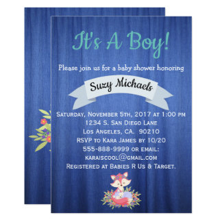 Baby Boy Foxes Blue Baby Shower Invititations Card