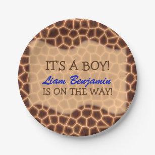 Baby Boy - Giraffe Themed Baby Shower Paper Plate  sc 1 st  Zazzle & Cute Jungle Baby Animal Plates   Zazzle.com.au