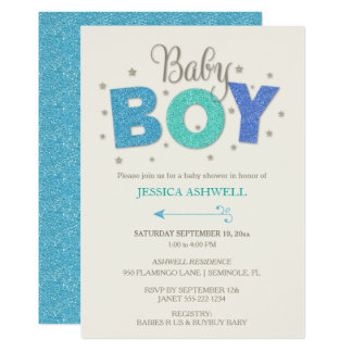 Baby Boy Glitter Stars Blue Turquoise Periwinkle Card