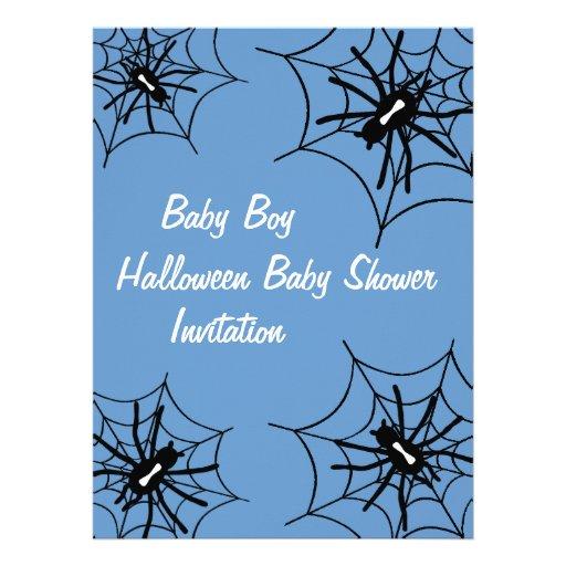 Baby Boy Halloween Baby Shower Spider Invitations