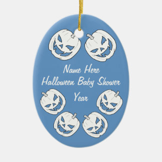 Baby Boy Halloween Pumpkin Baby Shower Ornaments