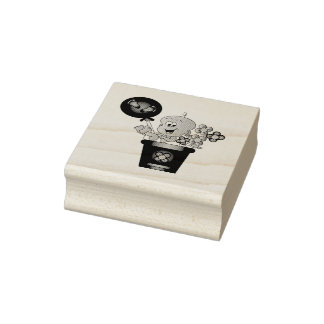 Baby Boy in a Flower Pot Rubber Stamp