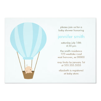 Baby Boy in Blue Balloon 13 Cm X 18 Cm Invitation Card