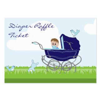 Baby Boy in Pram Diaper Raffle Business Card