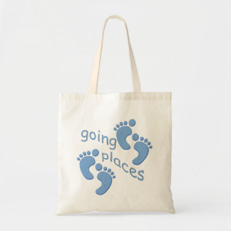 Baby Boy Little Feet Going Places Footprints Bag