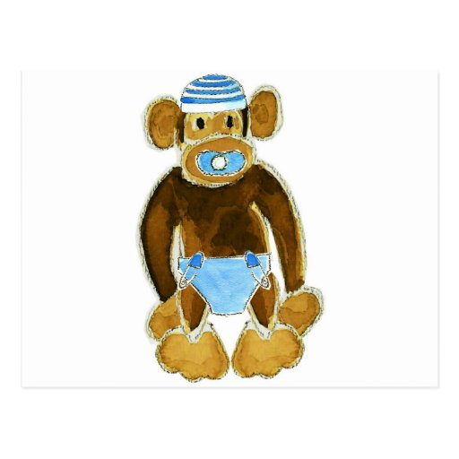 Baby Boy Monkey Diaper Post Cards