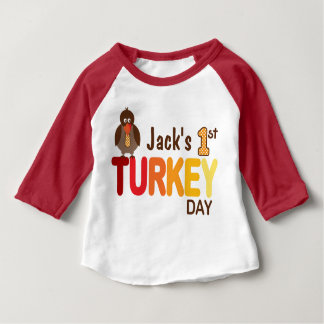 Baby Boy My First Turkey Day Thanksgiving Shirt