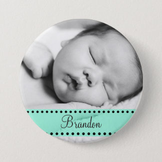Baby Boy Name and  Photo Magnet GreenPersonalized 7.5 Cm Round Badge
