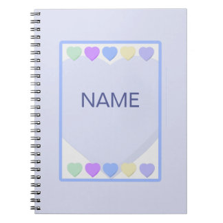 Baby Boy Name Blue Hearts Notebook