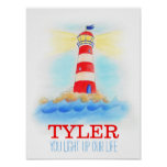 Baby boy nursery lighthouse quote poster