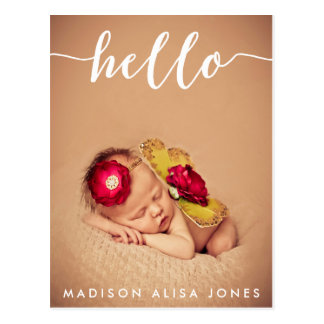 Baby Boy or Girl Hello Photo Birth Announcement Postcard