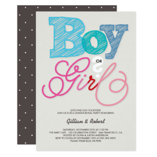 Baby Boy or Girl Pink Blue Gender Reveal Party Card