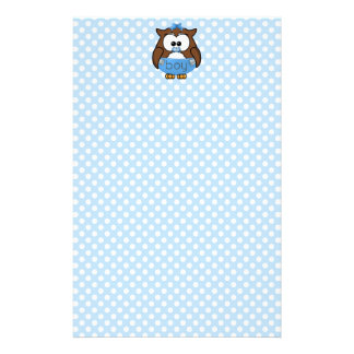 baby boy owl personalised stationery