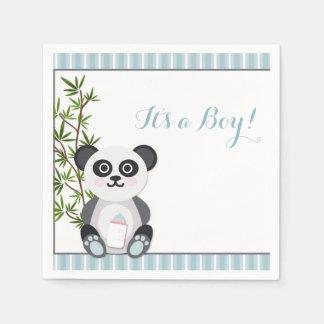 Baby Boy Panda, Stripes Disposable Serviette