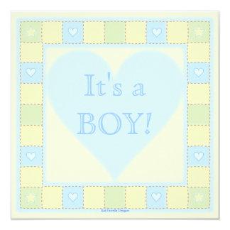 Baby Boy Patchwork Quilt Baby Shower Invitation