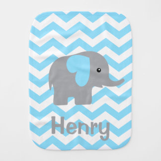 Baby Boy Personalized Elephant Chevron Burp Cloth