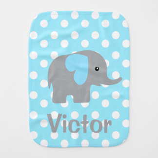 Baby Boy Personalized Elephant Dotted Burp Cloth