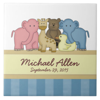 Baby Boy Personalized Nursery Large Square Tile