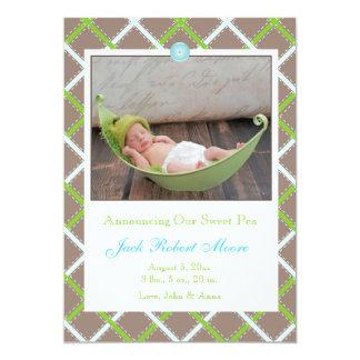 "Baby Boy Photo Birth Announcement 5"" X 7"" Invitation Card"