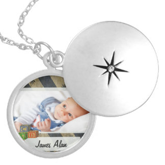 Baby Boy Photo Keepsake Silver Plated Necklace