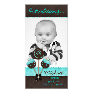 Baby Boy Photocard Announcement Cake Pops Blue Personalized Photo Card