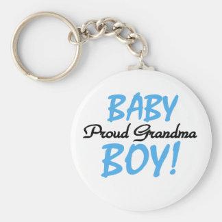 Baby Boy Proud Grandma Basic Round Button Key Ring