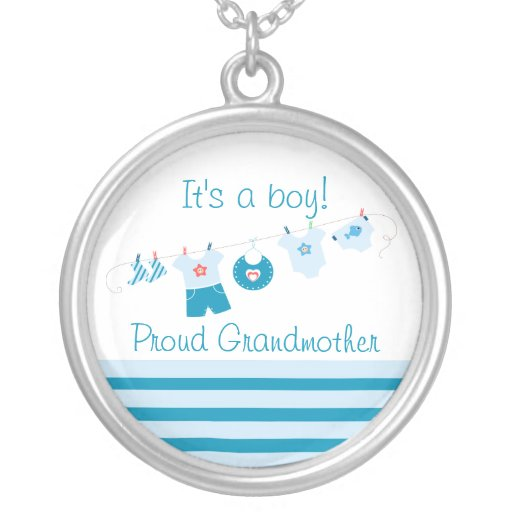 Baby Boy Proud Grandmother Blue Clothes Necklace