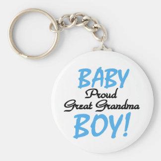 Baby Boy Proud Great Grandma Basic Round Button Key Ring