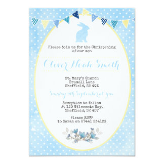Baby Boy Rabbit Christening/Baptism Invitation