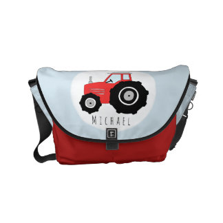 Baby Boy Red Farmer's Tractor with Name Diaper Commuter Bags