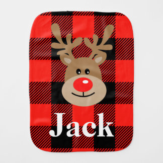 Baby Boy Reindeer Burp Cloth Christmas Check