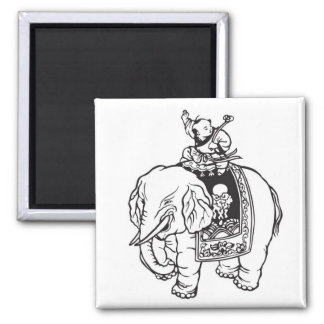 Baby Boy Riding Elephant Good Luck Charm Square Magnet