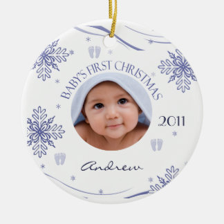 Baby Boy s First Christmas Snowflake Photo Ornamen Christmas Tree Ornament